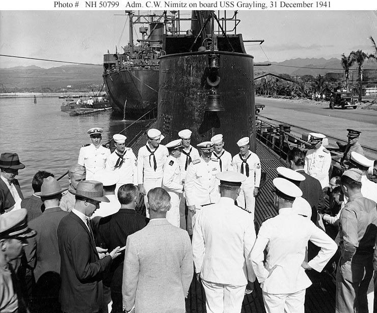 US Pacific Fleet change of command aboard USS Grayling (SS 209), 1941