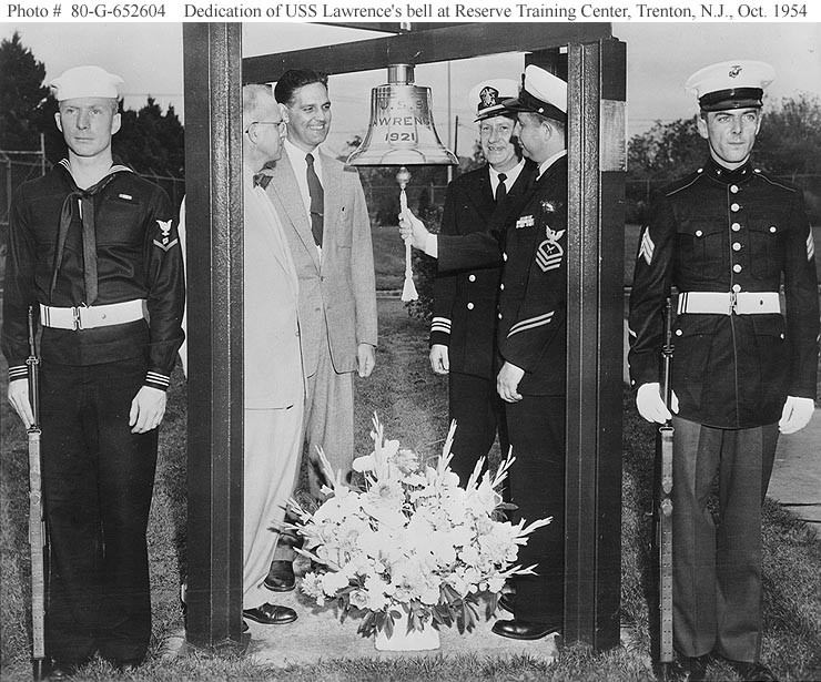 USS Lawrence (DD 250) ship's bell at the Naval Reserve Training Center, Trenton NJ, 1954