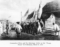 "Commodore Perry and his Entourage Arrive at the ""Treaty House"" In Yokohama, March 8, 1954."