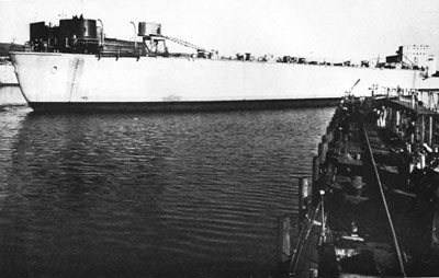 ARD-14. Photograph taken during the launching of the dock, November 6, 1943.