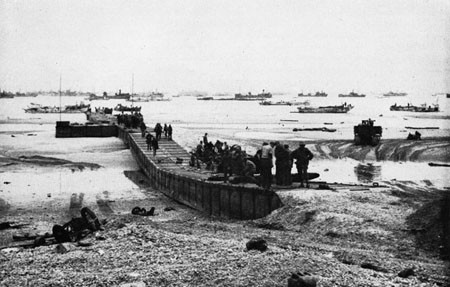 Pontoon Causeway on a Normandy Beach, June 10, 1944.