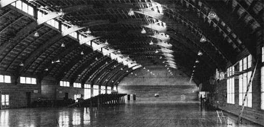 Interior of South Drill Hall, Camp Parks.