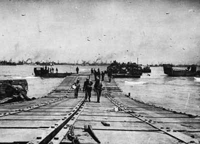 Pontoon Causeway in Use in the Normandy Invasion.