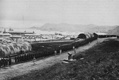 86th Seabees Lined up for Inspection on Maintenance Avenue, Adak, July 16, 1944.