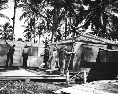Men of the 36th Battalion Erecting Dallas Huts, Espiritu Santo.