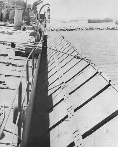 Pontoon Causeway About to Go Over the Side of an LST, Arzeu.