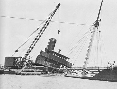 Pontoon Crane in Action at Port Lyautey.