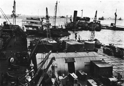 Seabee Repair Ship at OMAHA Beach.