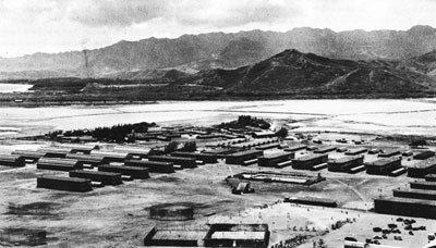 Barracks and Recreation Field at Kaneohe Naval Air Station.
