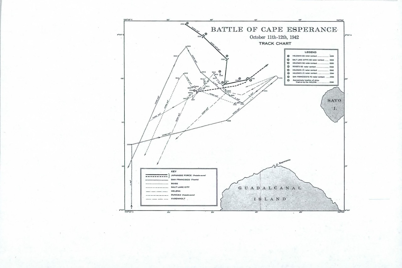Battle of Cape Esperance, october 11-12th 1942, Track Chart