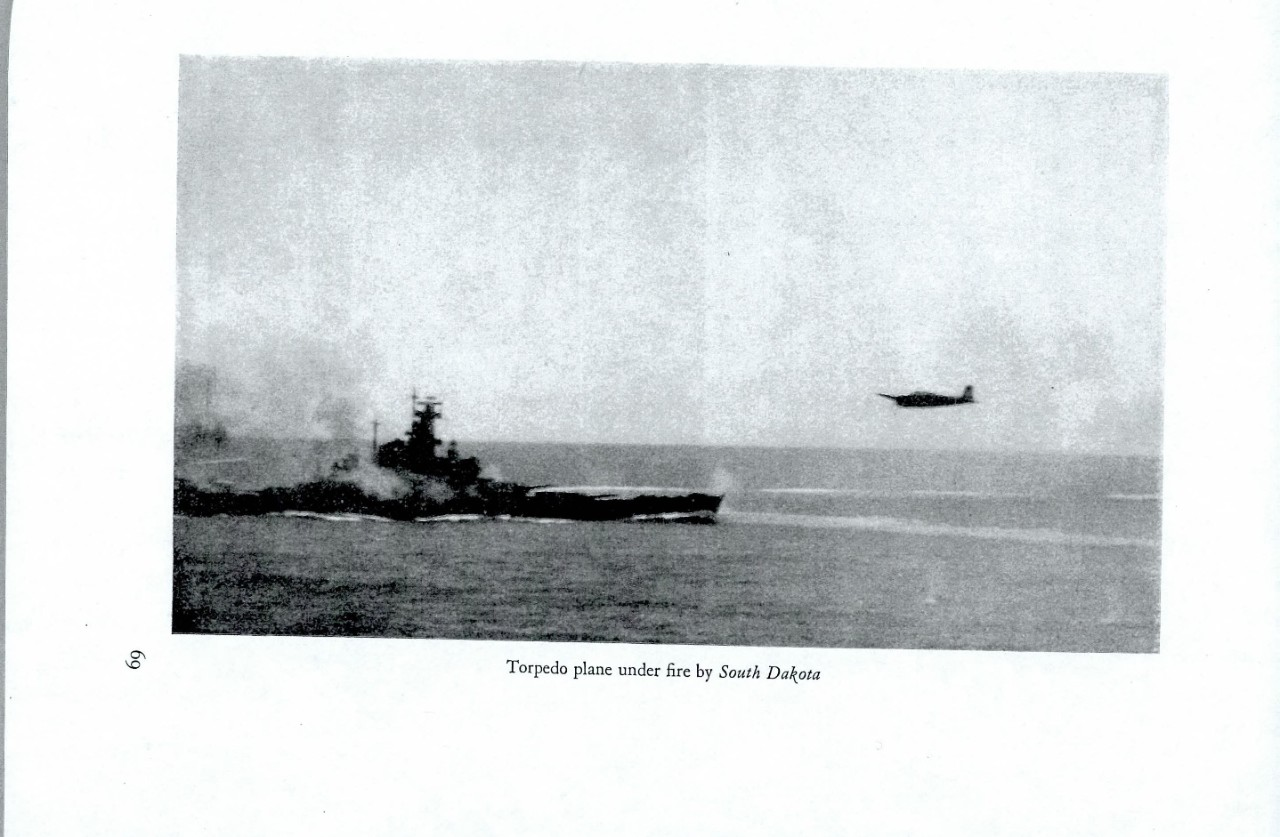 Torpedo plane under fire by South Dakota