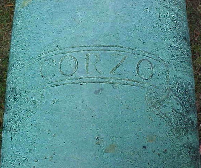 Close up of No.10 showing name CORZO (the male roe deer, with the connotation of swiftness).