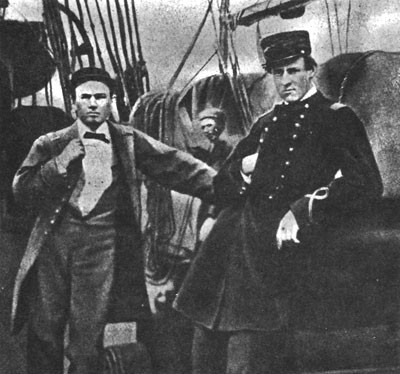 Photo of Lieutenants Armstrong and Sinclair aboard Alabama