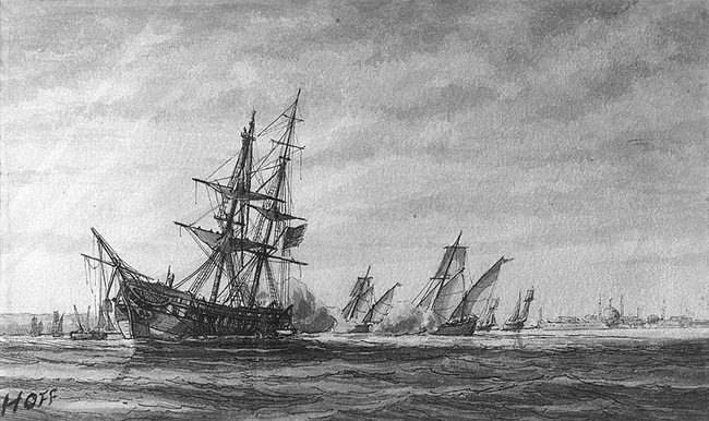 Stranding and capture of USS Philadelphia, 31 October 1803, sketch by William Bainbridge Hoff.