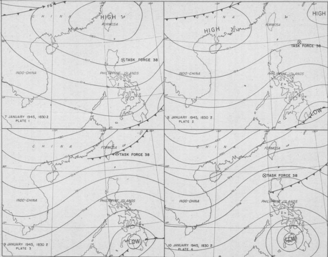 Weather Maps: Task Force 38, 7-10 January 1945.