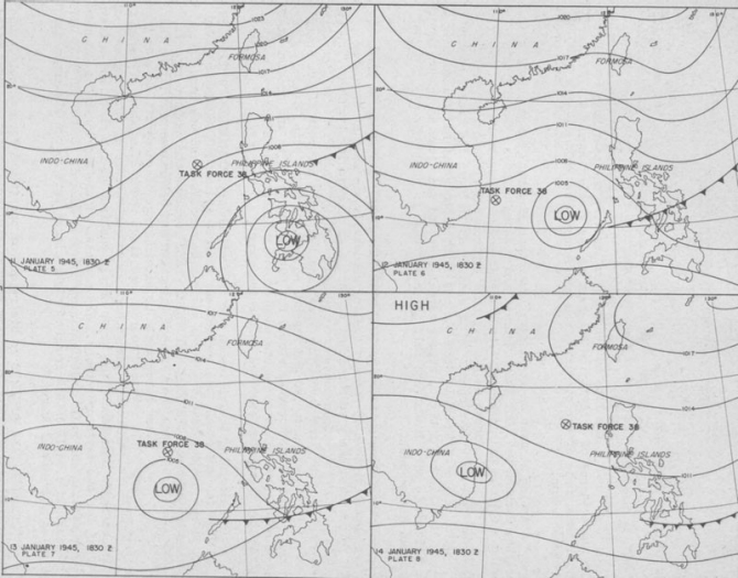 Weather Maps: Task Force 38, 11-14 January 1945.