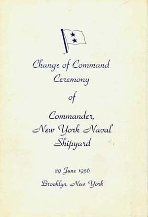 Image of the cover of a Change of Command ceremony brochure.