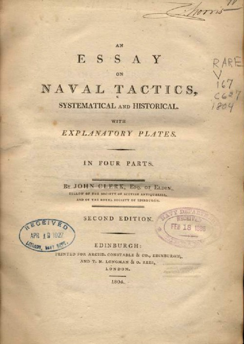 Image of title page of 'An Essay on Naval Tactics' by John Clerk