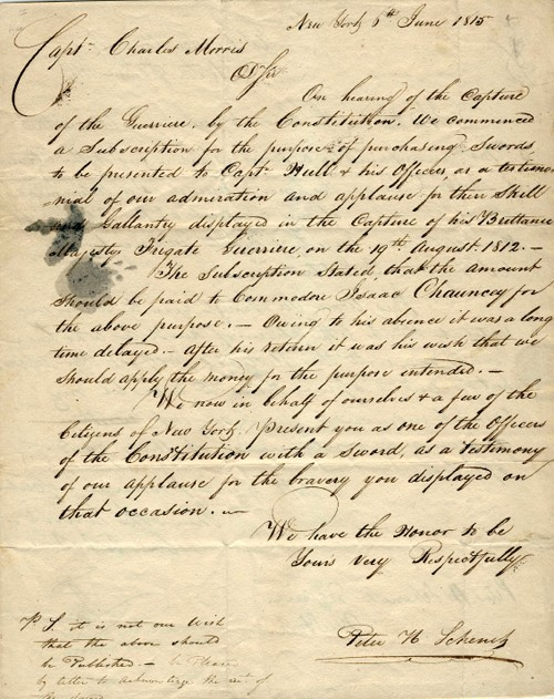 Image of a letter dated 6 June 1815, from citizens of New York presenting him a sword for the engagement with Guerriere, and his response. (Author's collection)