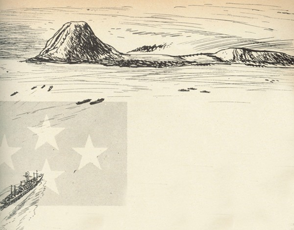 Line drawing ship approaching a mountain range