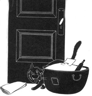 Cartoon image - door with items piled outside