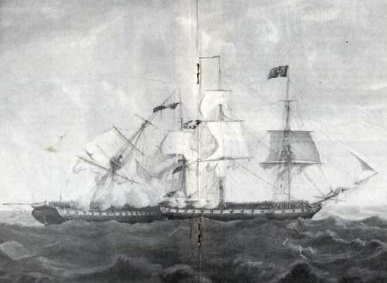 Constitution engaging Guerriere, 19 August 1812. Men can be seen in her foretop and foremast shrouds.