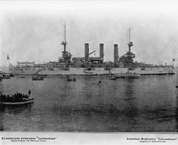 Image of U.S.S. Connecticut (BB-18), Flagship of Admiral Robley D. Evans, USN on the cruise around the world of the Great White Fleet, shown here at Callao, Peru, 1907. NH 1571