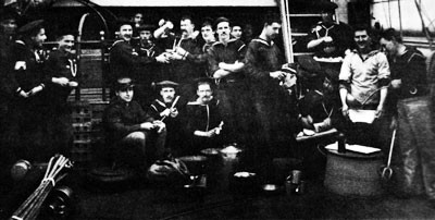 Image of Berth deck cooks, USS Enterprise, circa 1887-1890.