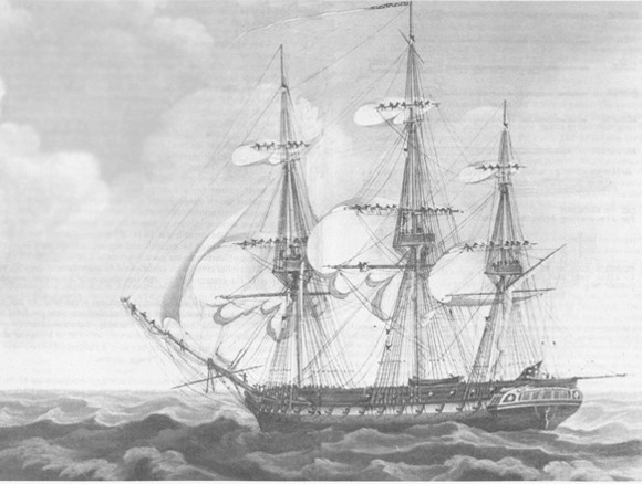 Constitution 'shows her teeth' and hoists her battle ensign as she prepared to engage Guerriere, 19 August 1812.