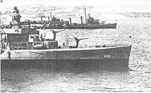 Satterlee (DD 626) at anchor in Belfast Lough, 14 May 1944, with Baldwin (DD 624) and Nelson (DD 623).