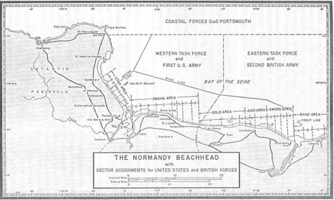 THE NORMANDY BEACHHEAD with SECTOR ASSIGNMENTS for UNITED STATES and BRITISH FORCES.