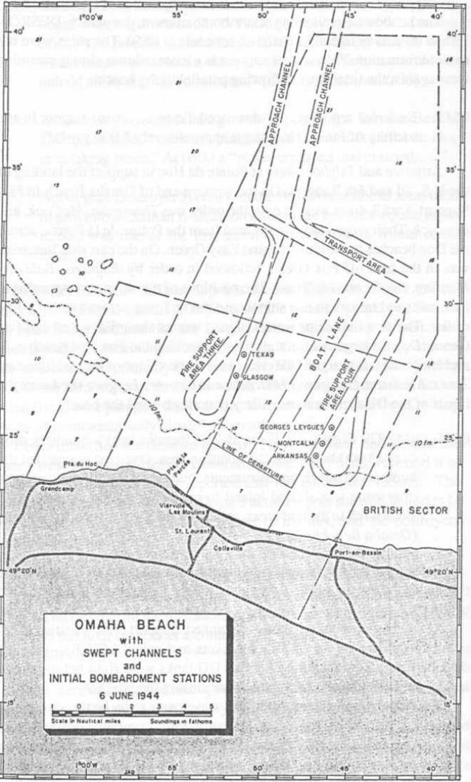 OMAHA BEACH with SWEPT CHANNELS and INITIAL BOMBARDMENT STATIONS 6 JUNE 1944 .