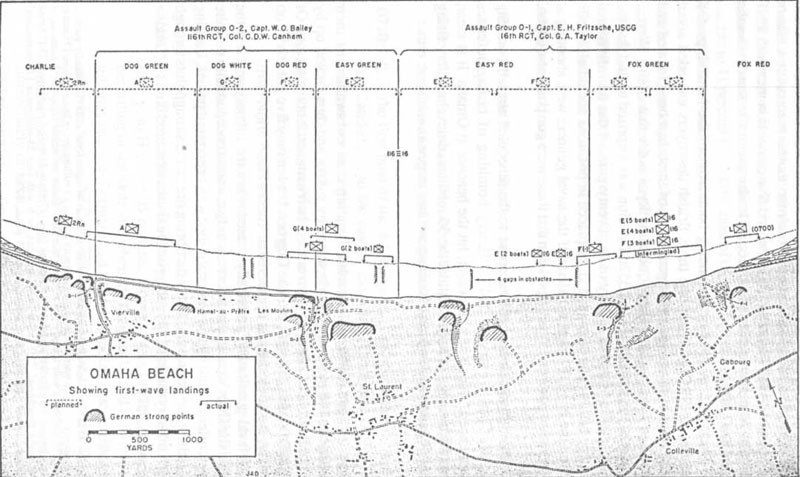 OMAHA BEACH Showing first-wave landings.