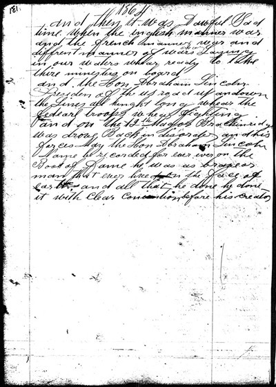 Page 181 of the Michael Shiner Diary