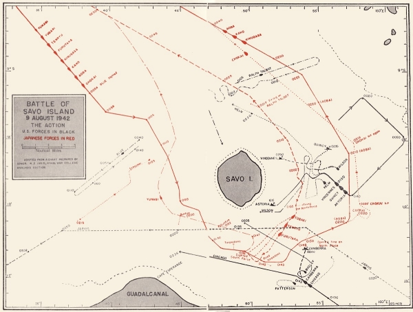 Figure 4 - Map of the Battle of Savo Island
