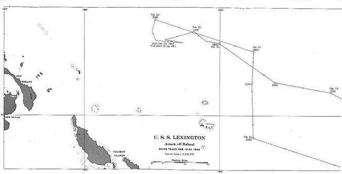Chart - USS Lexington Attack off Rabaul, Ships track Feb. 19-22, 1942