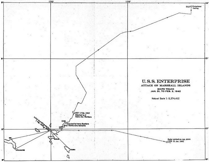 U.S.S. Enterprise - map of attack on Marshall Islands