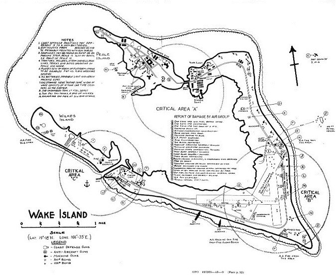 Wake Island - chart of reported damage by air group