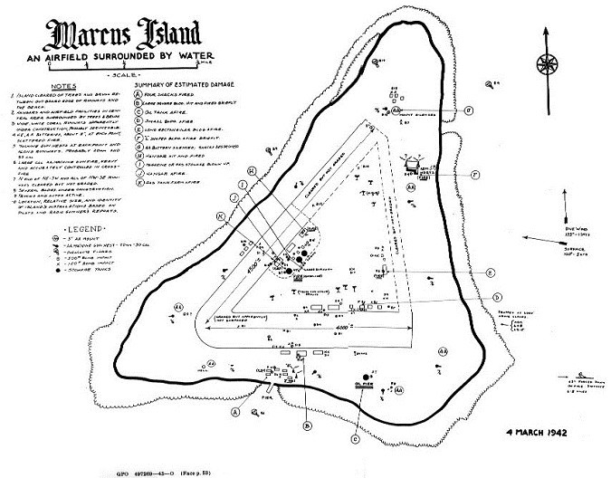 Marcus Island - an airfield surrounded by water - chart