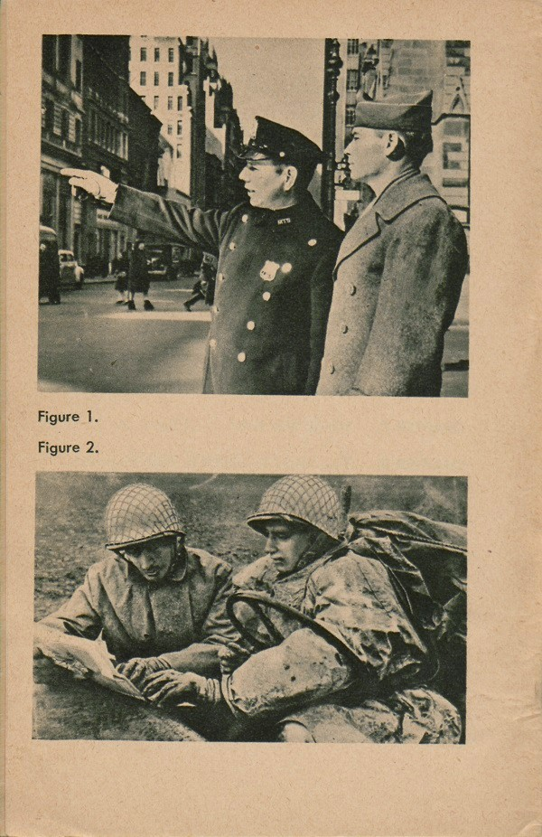 Top image: figure 1: Soldier asking policeman for directions, Bottom image: figure 2 - Two soldiers reading map.