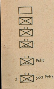Image of 6 unit signs, Description below.