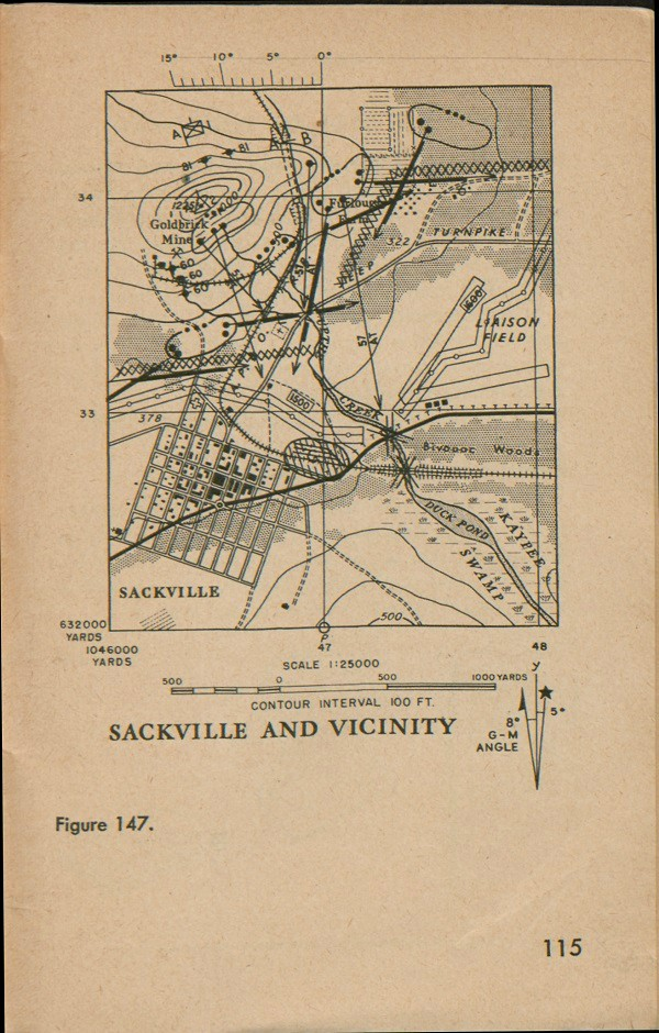 Figure 147: A map of Sackville and vicinity with contour interval 100 FT., Scale 1:25000, G-M angle, grid lines, and degrees.