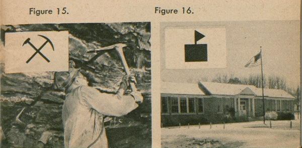 Figure 15: Shows a pick crossed with a sledge-hammer, the sign for a mine, such as a coal mine. Figure 16: Shows the sign for a schoolhouse, a black block with a flag flying from it.