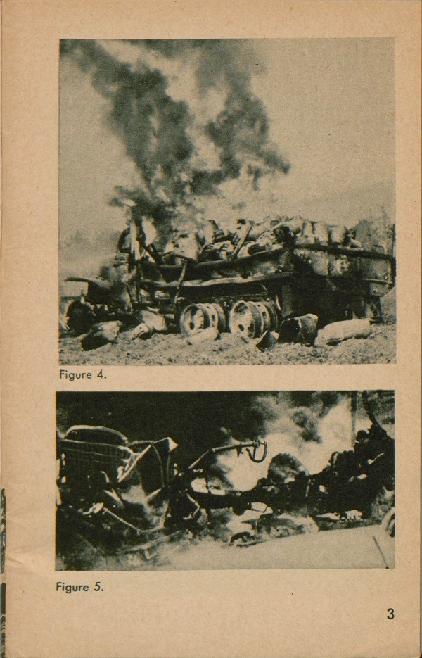 Figure 4 and figure 5: Burning vehicle on side of road.