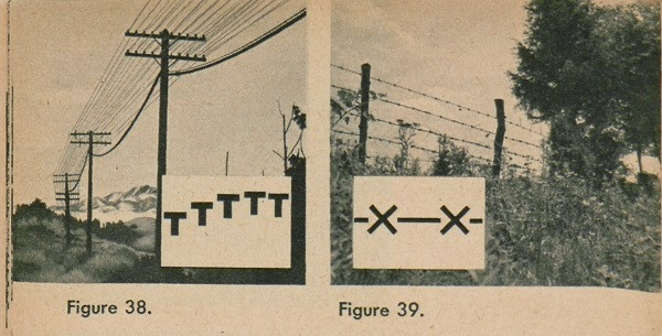 Figure 38: Telephone lines. Figure 39: Barbed-wire strand fence.