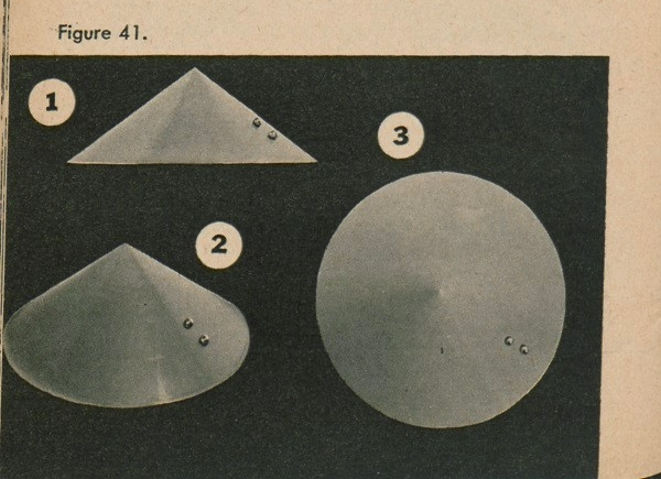 Figure 41: Three paper cones representing mountains/hills with two round objects representing boulders.