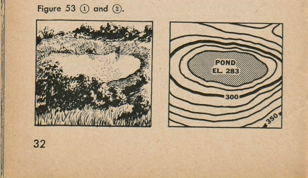 Figure 53: Two representations of a pond, one as a drawing and a second using contour lines.