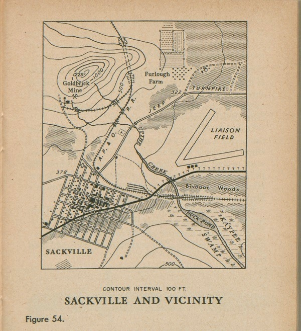 Figure 54: Map of Sackville and vicinity with contour interval 100 FT.