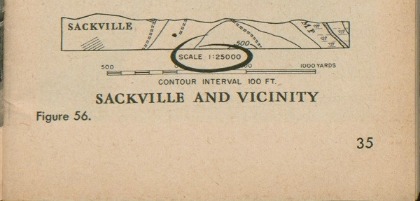 Figure 56: Part of a map of Sackville and vicinity showing contour interval 100 FT. and scale 1:25000, with scale 1:25000 circled.