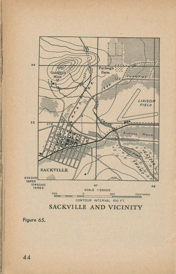 Figure 65: A map of Sackville and vicinity with contour interval 100 FT. and scale 1:25000.